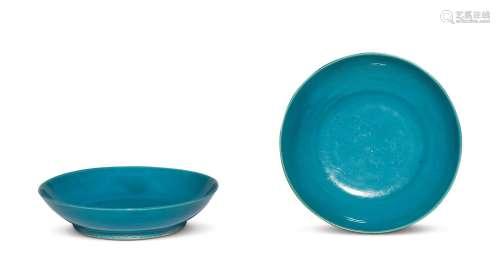 清早期 孔雀蓝釉盘 (一对)