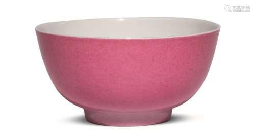 清雍正 外胭脂红釉内粉彩折枝牡丹纹小碗