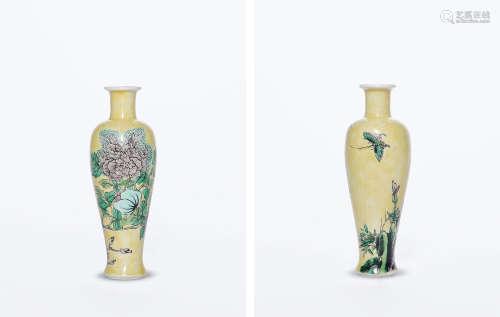 清康熙 素三彩花蝶纹小瓶