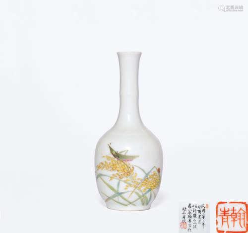 民国二十二年(1933年)作 余翰青绘粉彩草虫纹小瓶