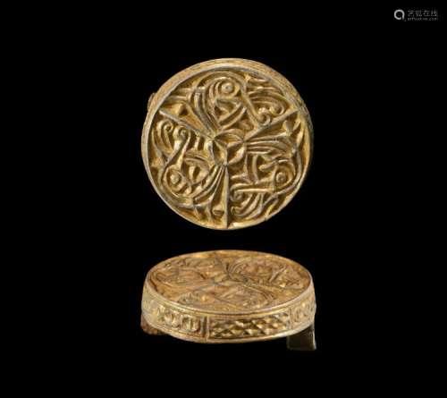 Viking Gilt Silver Box Brooch
