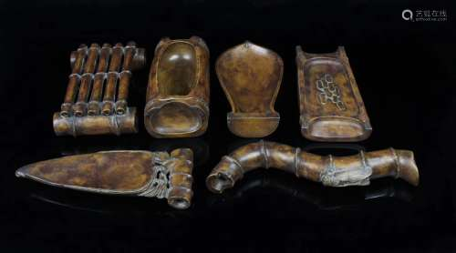 SET OF SONGHUA STONE CARVED STUDY TREASURES