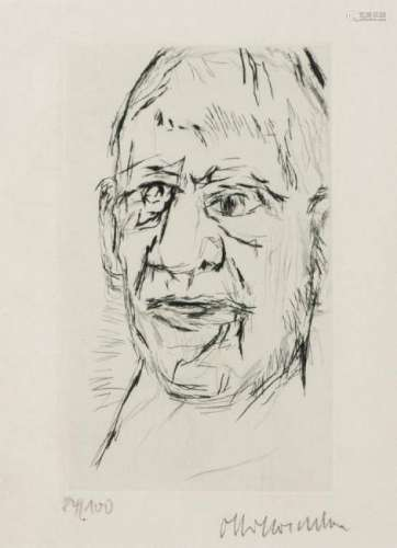 Oskar Kokoschka, 1886-1980, Self, 1972, etching