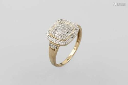 9 kt gold ring with diamonds