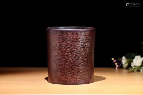 A ROSWOOD BRUSH POT LATE QING DYNASTY