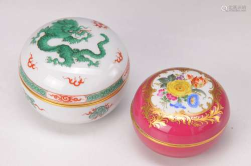 two lidded boxes