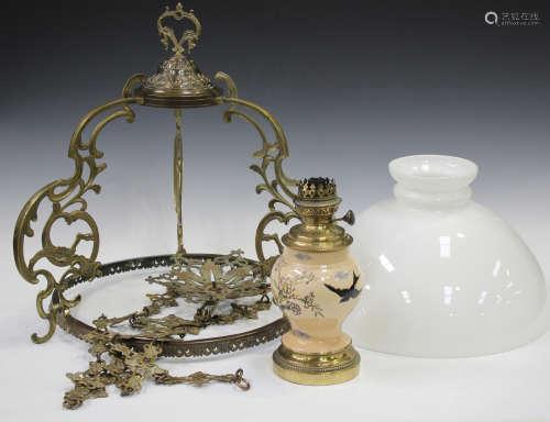A 20th century cast brass hanging lantern