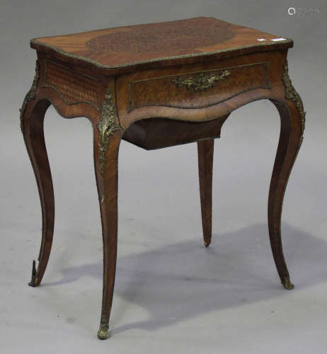A 19th century French kingwood and parquetry inlaid lady's dressing table with gilt metal mounts