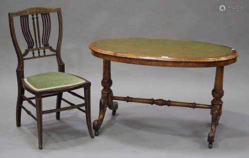 A Victorian walnut oval occasional table