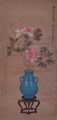 马家桐 花卉 纸本立轴