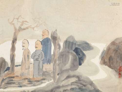 田黎明(b.1955) 高士图 镜心 设色纸本
