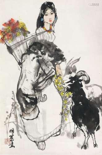 王明明(b.1952) 牧羊图 立轴 设色纸本
