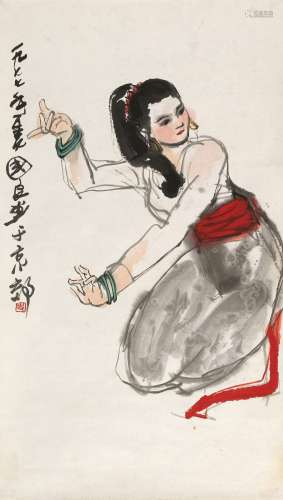 史国良(b.1956)      进入该艺术家作品认证 1977年作 傣族舞 镜心 设色纸本