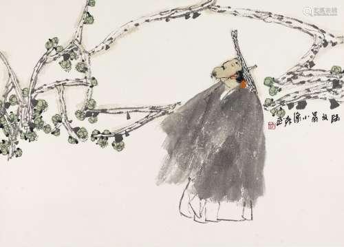 袁武(b.1959) 陆放翁小像 镜心 设色纸本