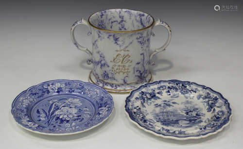 A Staffordshire pearlware two-handled loving cup