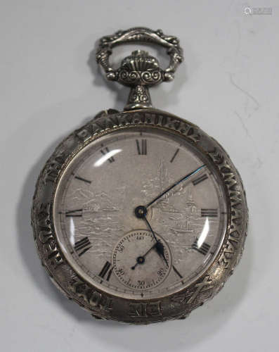 A Prima white base metal cased keyless wind open-faced gentleman's pocket watch
