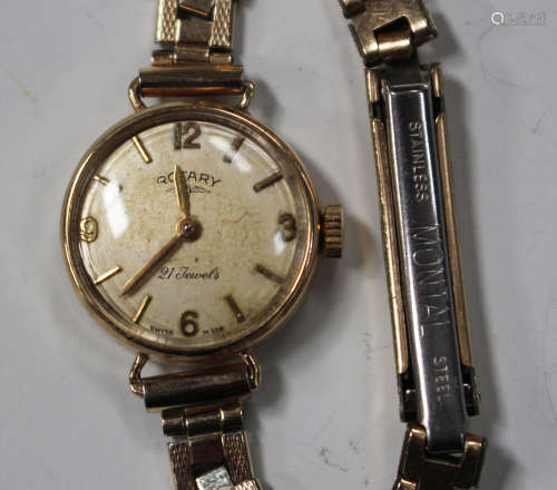 A Rotary 9ct gold circular cased lady's wristwatch
