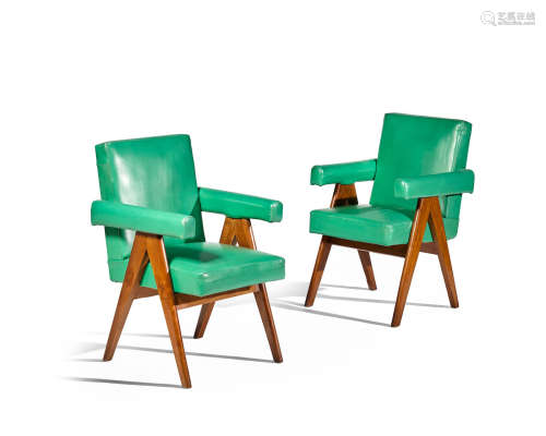 Pair of Committee Armchairscirca 1953teak, green coloured leather upholstery, brass, painted marks '786' and '75'each height 34 1/2in (87.5cm); width 24in (61cm); depth 23 1/2in (60cm)    Pierre Jeanneret (1896-1967)