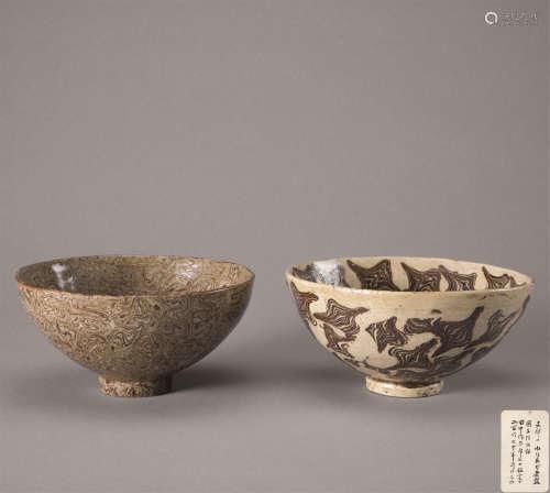 宋代 绞胎碗 (一组二件)