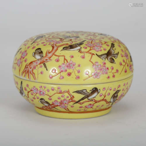 CHINESE FAMILLE ROSE PORCELAIN COVER BOX