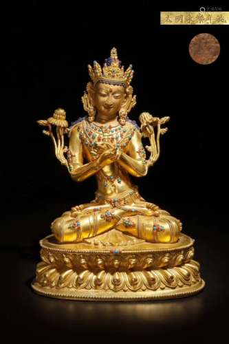 A GILT BRONZE FIGURE OF BUDDHA, YONGLE MARK