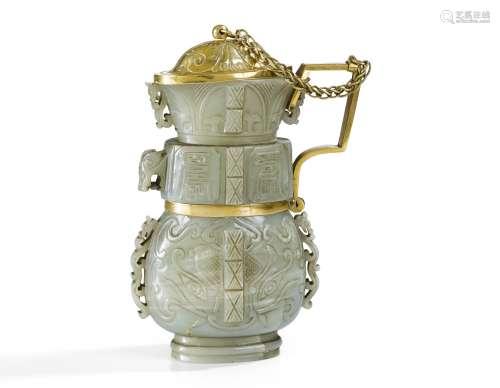 Vase archaïsant en jade céladon Dynastie Ming