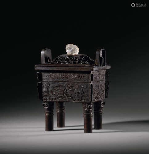 明 古铜兽面纹方鼎