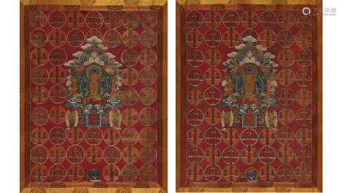 藏东19世纪 苯教东方光明佛唐卡、北方光明佛唐卡