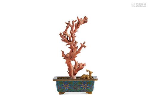 清 祥鹿珊瑚盆景