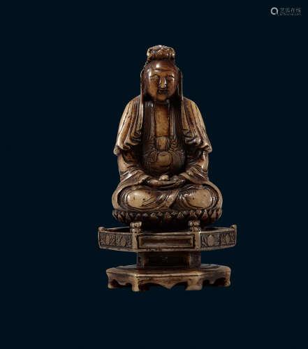 明 寿山石 观音菩萨像