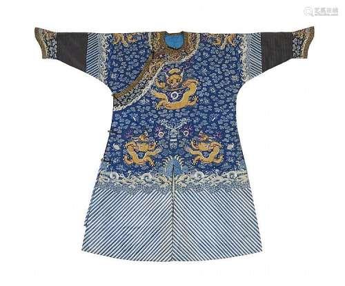 A blue satin embroidered nine-dragon robe (jifu). Late 19th century