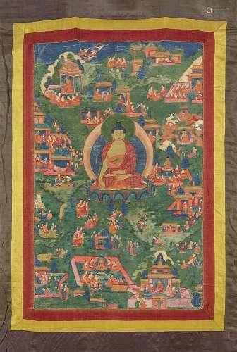 A Tibetan avadana thangka of Buddha Shakyamuni. 18th/19th century