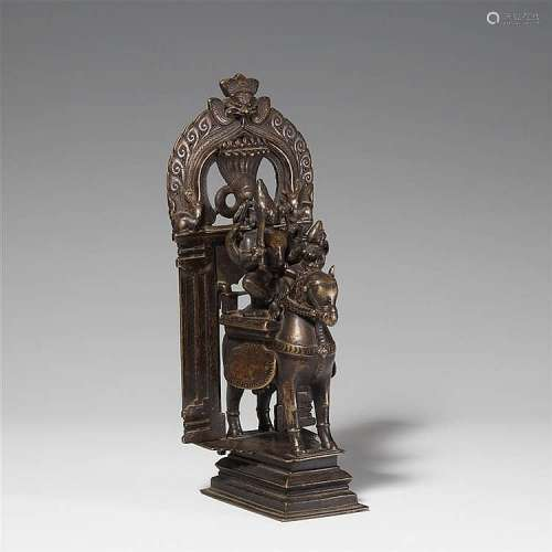 A possibly Maharashtra copper alloy altar of Shiva. 19th century