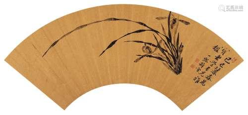 薛雪(1681~1770) 1749年作 空谷幽兰 镜心 水墨金笺