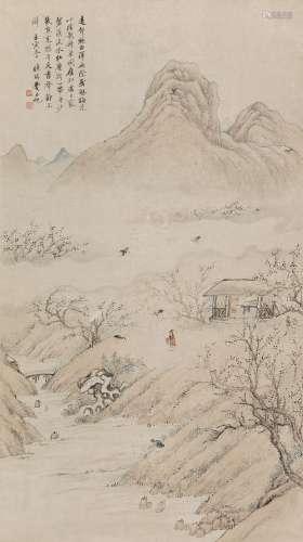 费丹旭(1802~1850) 1842年作 梅妻鹤子图 立轴 设色纸本