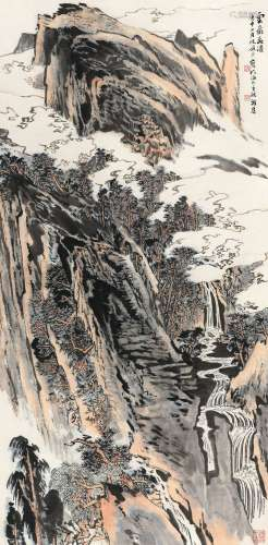 陆俨少(1909~1993) 1980年作 云岩飞瀑 镜心 设色纸本