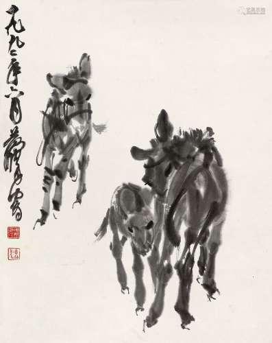 黄胄(1925~1997) 1992年作 三驴图 镜心 水墨纸本