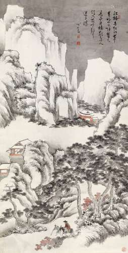 溥儒(1896~1963) 云中楼观 立轴 设色纸本