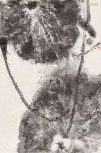 周思聪(1939~1996) 荷塘 镜心 水墨纸本