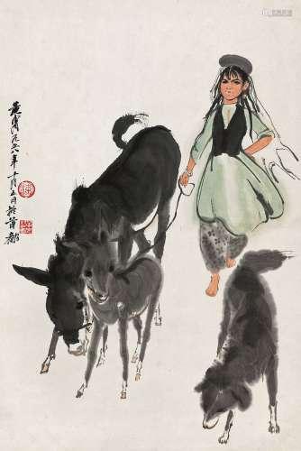 黄胄(1925~1997) 1958年作 赶驴图 镜心 设色纸本