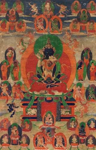 清早期 四十二寂静尊(西藏) 卷轴 设色绢本
