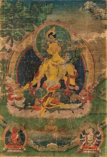 清早期 度母(西藏) 卷轴 设色绢本