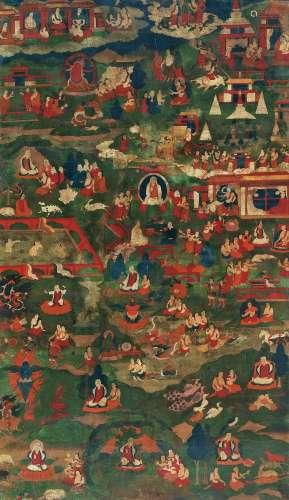 17世纪 源流图(藏东风格) 卷轴 设色绢本