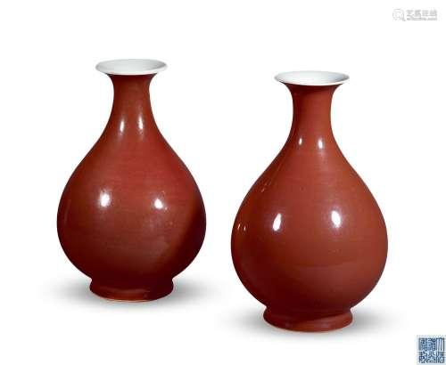 清道光 霁红釉玉壶春瓶 (一对)