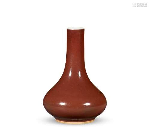 清中期 红釉小荸荠瓶