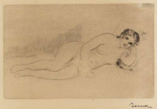 雷诺阿(1841~1919) 侧卧女人体 蚀刻铜版画