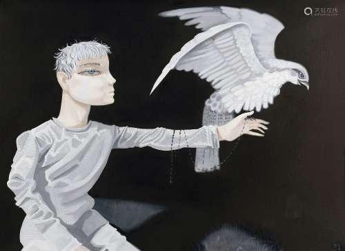 熊宇(b.1975) 2008年作 架鹰的人 布面 丙烯