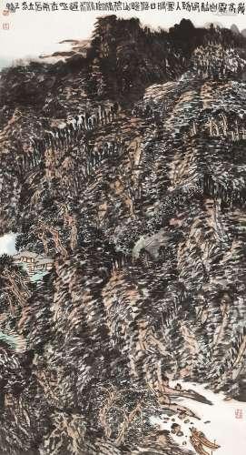 王镛 2000年作 岭高风劲图 镜心 设色纸本