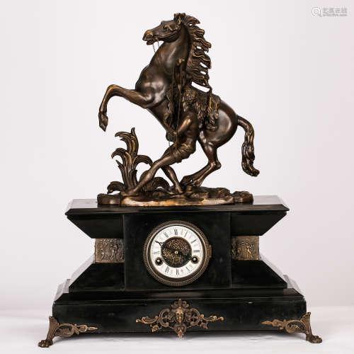 BRONZE CLOCK WITH HORSE