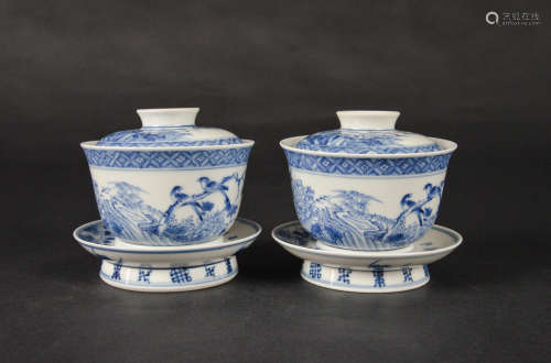 CHINESE BLUE AND WHITE PORCELAIN TEA CUPS